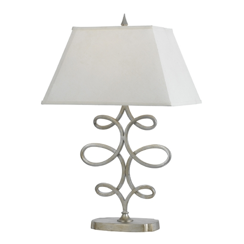 AF Lighting Table Lamp with White Shade in Silver, Foil Finish 8604-TL