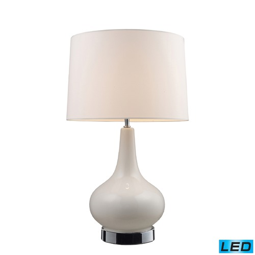 Dimond Lighting Dimond Lighting White, Chrome LED Table Lamp with Drum Shade 3935/1-LED