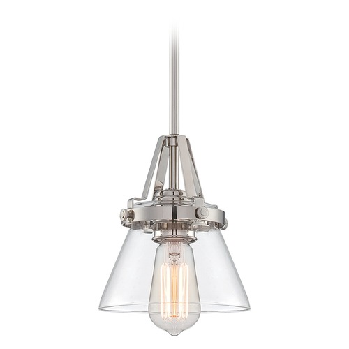 Lite Source Lighting Lite Source Lighting Galileo Polished Steel Mini-Pendant Light with Empire Shade LS-19793
