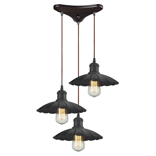 Elk Lighting Elk Lighting Corrine Oil Rubbed Bronze Multi-Light Pendant with Scalloped Shade 67040/3