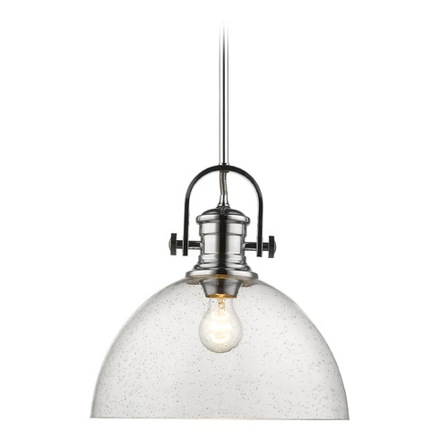 Golden Lighting Hines 1 Light Pendant in Chrome with Seeded Glass 3118-LCH-SD