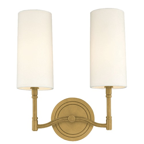 Hudson Valley Lighting Modern Sconce Wall Light with White Shades in Aged Brass Finish 362-AGB