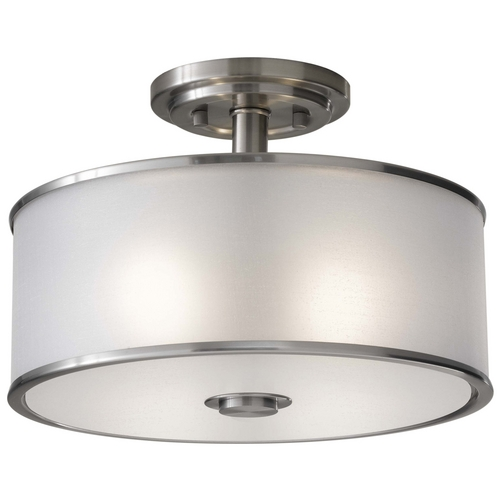 Feiss Lighting Semi-Flushmount Light with Silver Shade in Brushed Steel Finish SF251BS