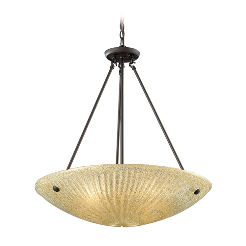 Elk Lighting Modern Pendant Light with Beige / Cream Glass in Aged Bronze Finish 10282/4