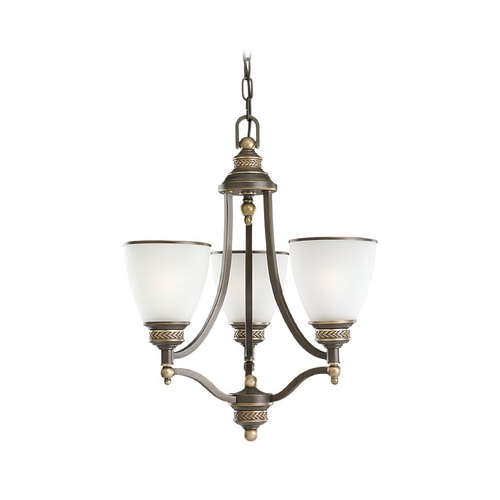 Sea Gull Lighting Mini-Chandelier with White Glass in Estate Bronze Finish 31349-708