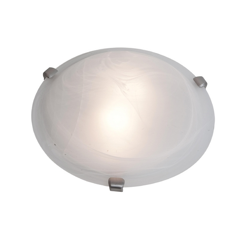 Access Lighting Modern Flushmount Light with White Glass in Brushed Steel Finish 23019-BS/WH