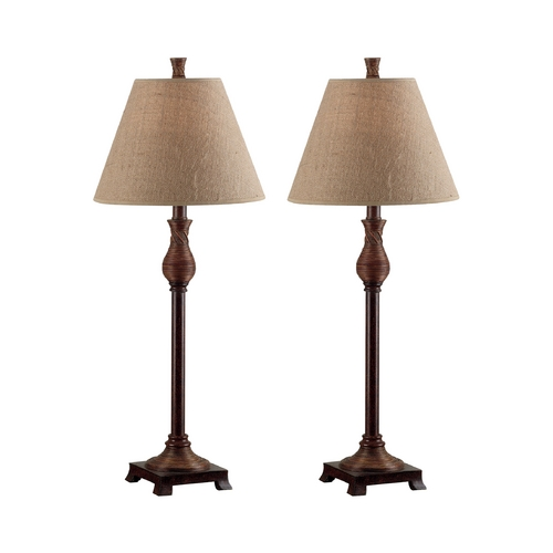 Kenroy Home Lighting Table Lamp Set with Beige / Cream Shade in Natural Reed Finish 20392NR