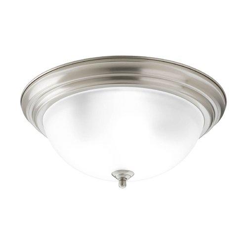 Progress Lighting Flushmount Light with White Glass in Brushed Nickel Finish P3926-09ET