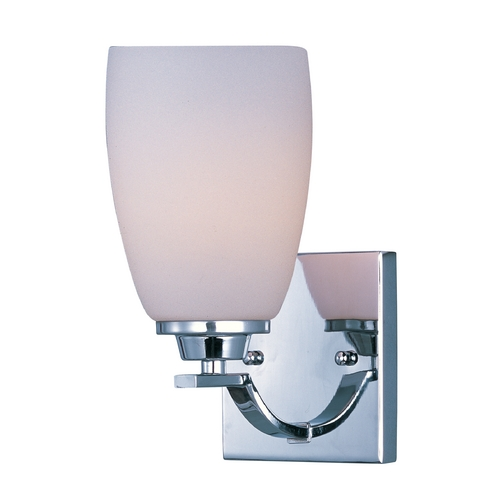 Maxim Lighting Modern Sconce Wall Light with White Glass in Polished Chrome Finish 20020SWPC