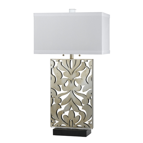 AF Lighting Table Lamp with White Shades in Silver Finish 8606-TL
