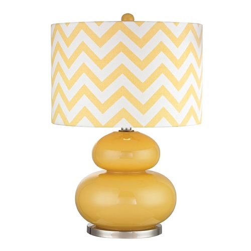 Dimond Lighting Yellow Table Lamp with Chevron Drum Shade D2501-LED