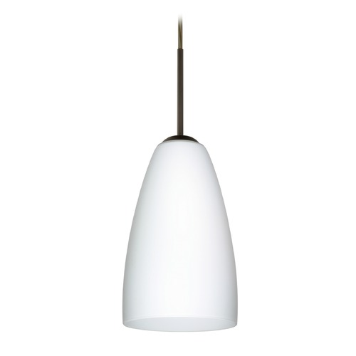 Besa Lighting Besa Lighting Riva Bronze LED Mini-Pendant Light with Oblong Shade 1JT-151107-LED-BR