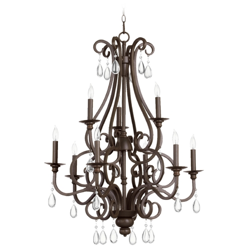 Quorum Lighting Quorum Lighting Anders Oiled Bronze Crystal Chandelier 6013-9-86