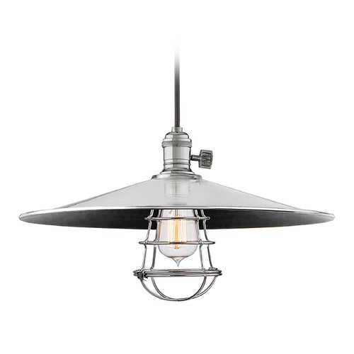 Hudson Valley Lighting Hudson Valley Lighting Heirloom Polished Nickel Pendant Light with Coolie Shade 8001-PN-ML1-WG