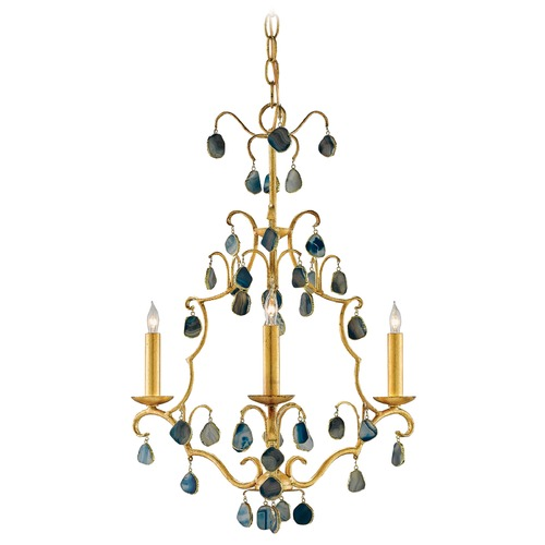 Currey and Company Lighting Currey and Company Eudora Antique Gold Leaf/blue Chandelier 9000-0035
