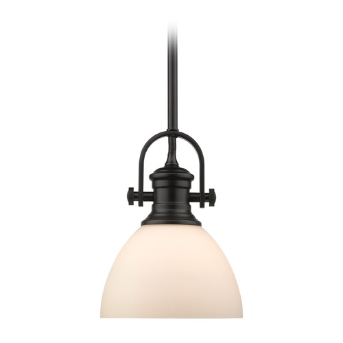 Golden Lighting Hines Mini Pendant in Black with Opal Glass 3118-M1LBLK-OP