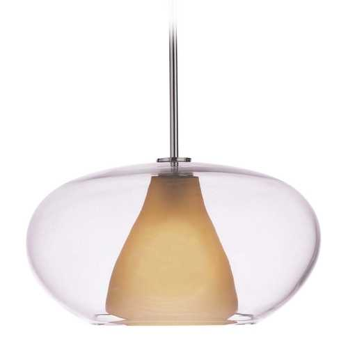 George Kovacs Lighting Modern Pendant Light with Amber Glass in Chrome Finish P3834-077