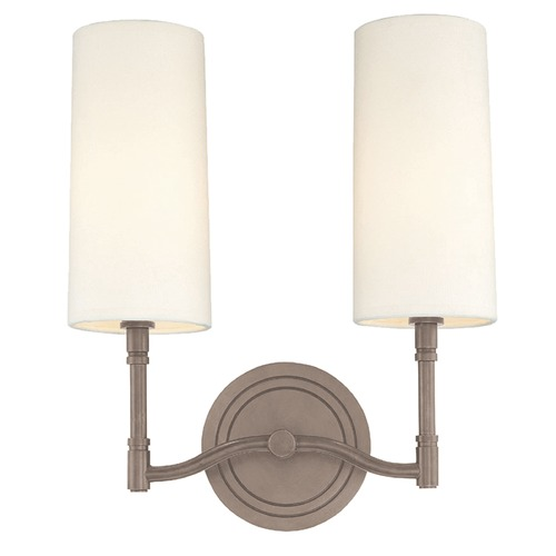 Hudson Valley Lighting Modern Sconce Wall Light with White Shades in Antique Nickel Finish 362-AN