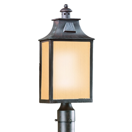 Troy Lighting Post Light with Beige / Cream Glass in Old Bronze Finish PF9003OBZ