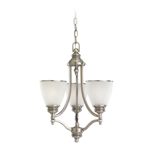 Sea Gull Lighting Mini-Chandelier with White Glass in Antique Brushed Nickel Finish 31349-965