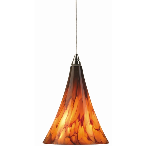 Tech Lighting Small Murano Glass Mini-Pendant Light in Satin Nickel 700-FJMMLAS/700FJ4RFS KIT