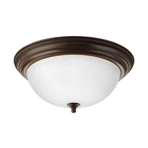 Progress Lighting Flushmount Light with White Glass in Antique Bronze Finish P3926-20ET