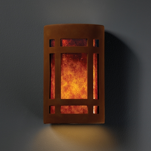 Justice Design Group Sconce Wall Light with White in Real Rust Finish CER-7485-RRST