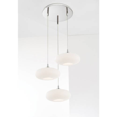 Holtkoetter Lighting Holtkoetter Lighting Lichtstar System Satin Nickel Multi-Light Pendant with Oval Shade C8310 S006 G5701 SN
