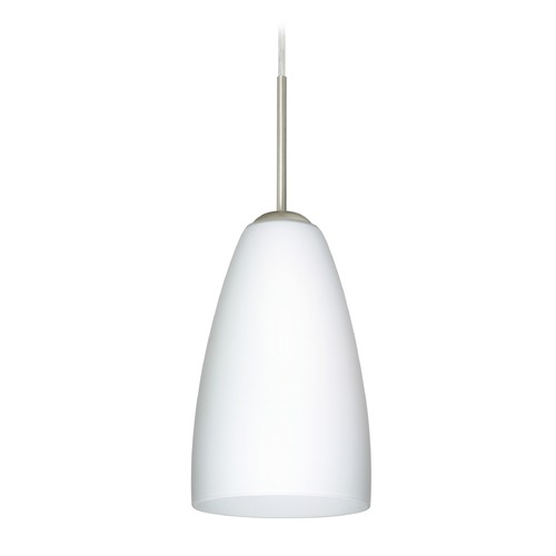 Besa Lighting Besa Lighting Riva Satin Nickel LED Mini-Pendant Light with Oblong Shade 1JT-151107-LED-SN