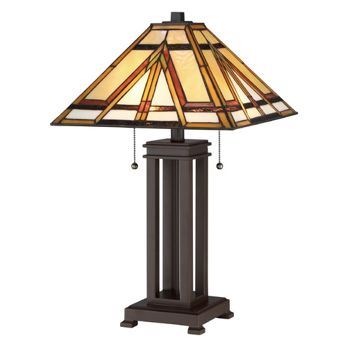 Quoizel Lighting Quoizel Lighting Tiffany Russet Table Lamp with Square Shade TF2095TRS