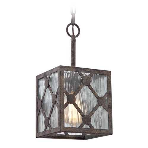 Elk Lighting Elk Lighting Radley Malted Rust Mini-Pendant Light with Square Shade 32122/1