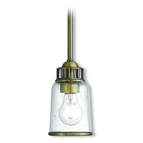 Livex Lighting Seeded Glass Mini-Pendant Light Brass Livex Lighting 40021-01