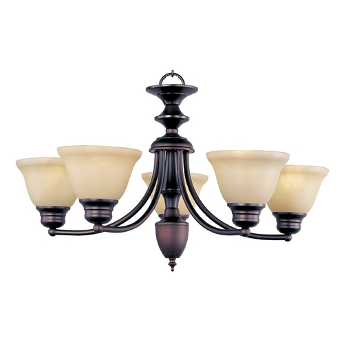Maxim Lighting Chandelier with Beige / Cream Glass in Oil Rubbed Bronze Finish 2699WSOI