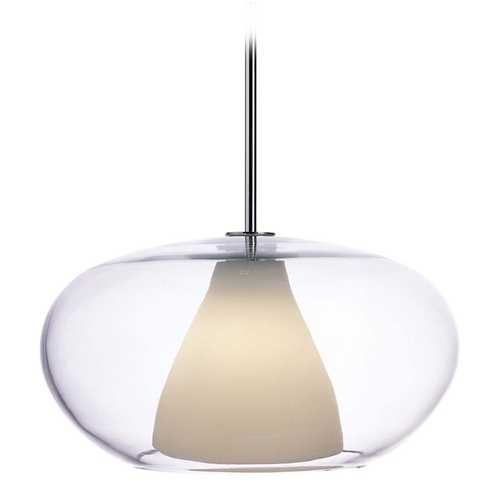 George Kovacs Lighting Modern Pendant Light with White Glass in Chrome Finish P3836-077