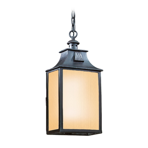 Troy Lighting Outdoor Hanging Light with Beige / Cream Glass in Old Bronze Finish FF9004OBZ