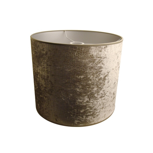Light and Living Silver Velour Drum Lamp Shade with Uno Assembly 2218057