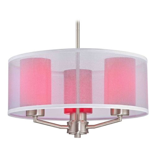 Design Classics Lighting Palatine Fuse Contemporary Satin Nickel Pendant Light with Cylinder Glass 1723-09 GL1008C