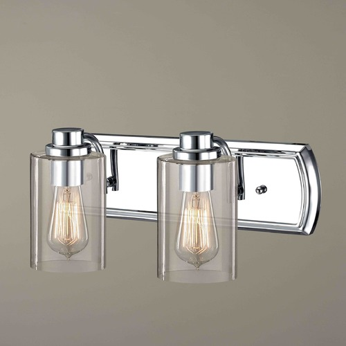 Design Classics Lighting Industrial 2-Light Vanity Light in Chrome 1202-26 GL1040C