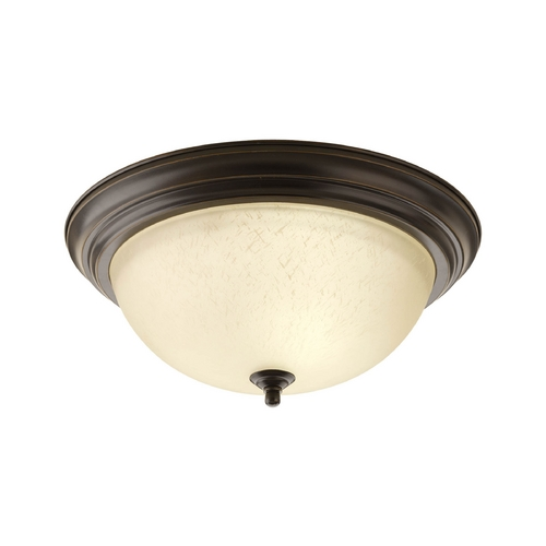 Progress Lighting Flushmount Light with Beige / Cream Glass in Antique Bronze Finish P3926-20EUL