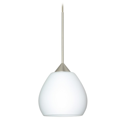 Besa Lighting Besa Lighting Tay Satin Nickel Mini-Pendant Light with Bell Shade 1XT-560507-SN