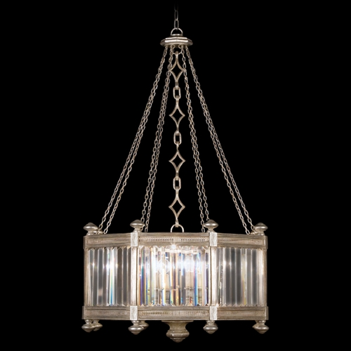 Fine Art Lamps Fine Art Lamps Eaton Place Silver Leaf Pendant Light with Hexagon Shade 584440-2ST