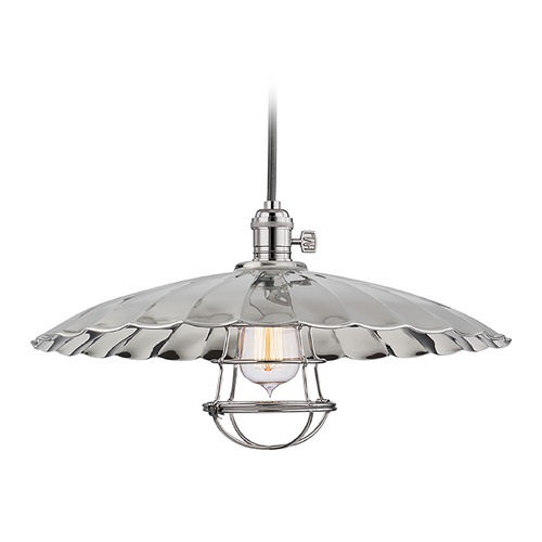 Hudson Valley Lighting Hudson Valley Lighting Heirloom Polished Nickel Pendant Light with Scalloped Shade 8001-PN-ML3-WG