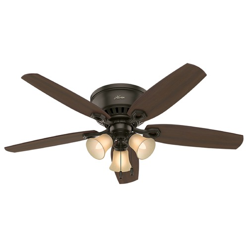 Hunter Fan Company 52-Inch Hunter Fan Builder Low Profile New Bronze Ceiling Fan with Light 53327