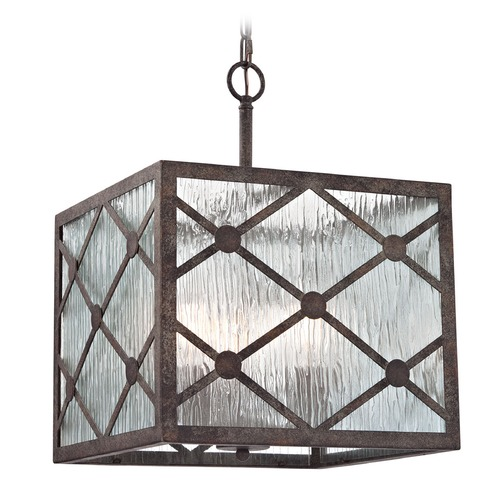 Elk Lighting Elk Lighting Radley Malted Rust Multi-Light Pendant with Square Shade 32123/3