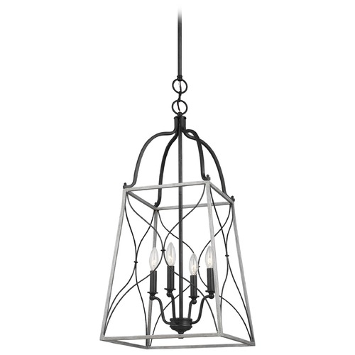 Sea Gull Lighting Sea Gull Lighting Carra Weathered Zinc LED Pendant Light with Square Shade 6531504EN-808