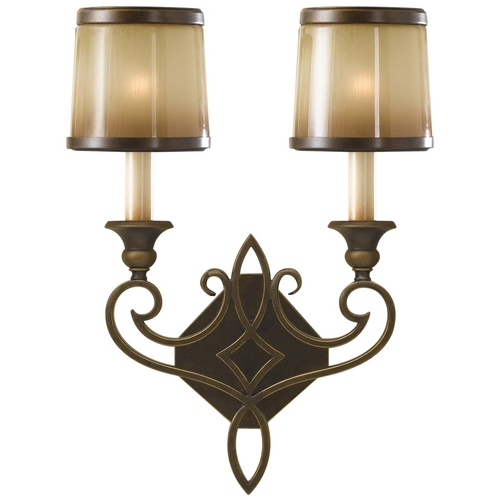 Feiss Lighting Sconce Wall Light with Brown Glass in Astral Bronze Finish WB1473ASTB