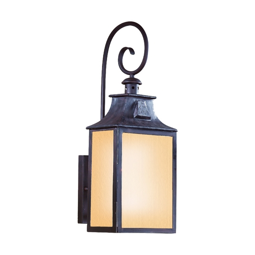 Troy Lighting Outdoor Wall Light with Amber Glass in Old Bronze Finish BF9002OBZ