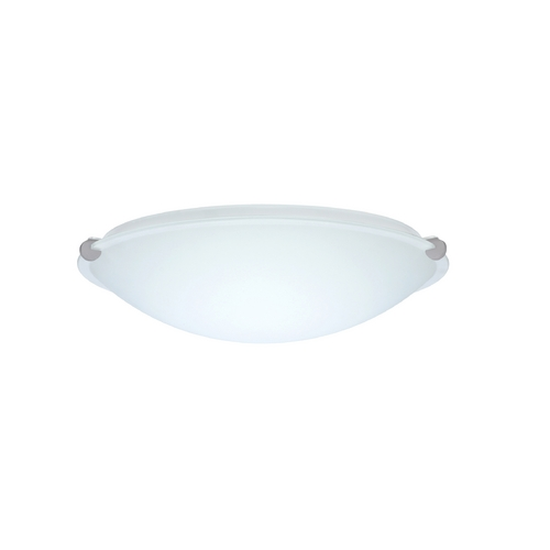 Besa Lighting Flushmount Light with White Glass in Satin Nickel Finish 968207-SN