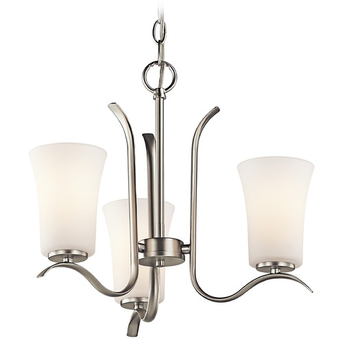 Kichler Lighting Kichler Mini-Chandelier with White Glass in Brushed Nickel Finish 43073NI