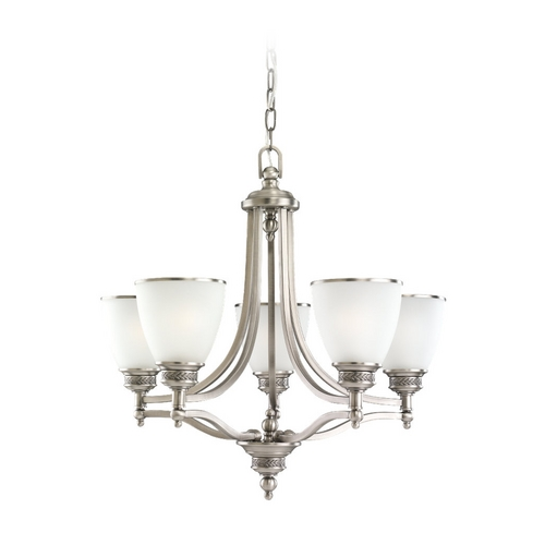 Sea Gull Lighting Sea Gull Lighting 5-Light Chandelier with White Glass in Antique Brushed Nickel 31350-965